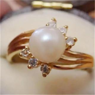即購入OK♡V087昭和レトロパールゴールドカラーリングヴィンテージ指輪(リング(指輪))