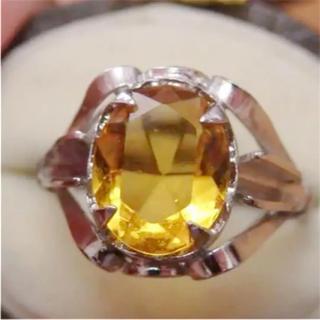 即購入OK♡V050ヴィンテージオレンジの昭和レトロ天然石リング指輪(リング(指輪))