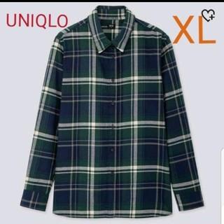 ユニクロ(UNIQLO)のUNIQLO フランネルチェックシャツ XLサイズ グリーンチェック(シャツ/ブラウス(長袖/七分))