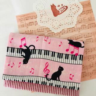 ハンドメイド ピアノとネコの移動ポケット(外出用品)