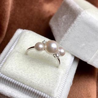 パール ダイヤモンド リング k18 (リング(指輪))
