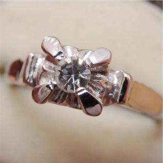 即購入OK♡V022昭和レトロクリアストーンシルバーカラーリング指輪(リング(指輪))