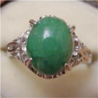 即購入OK♡V069昭和レトログリーンストーンのシルバーカラーリングヴィンテージ(リング(指輪))