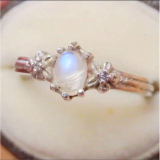 即購入OK*エルフの指輪幻想的なムーンストーンシルバーリングヴィンテージ(リング(指輪))