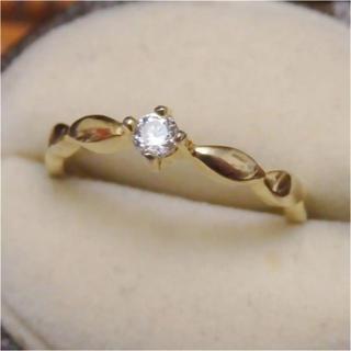 即購入OK♡華奢な一粒キラキラストーンのゴールドカラーリング指輪ピンキーリング(リング(指輪))