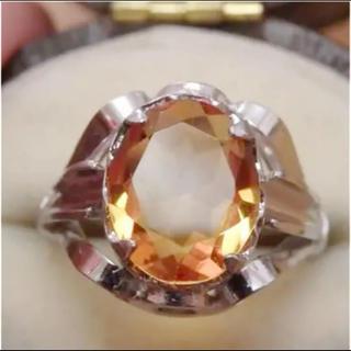 即購入OK♡V074ヴィンテージオレンジの昭和レトロ天然石リング指輪(リング(指輪))
