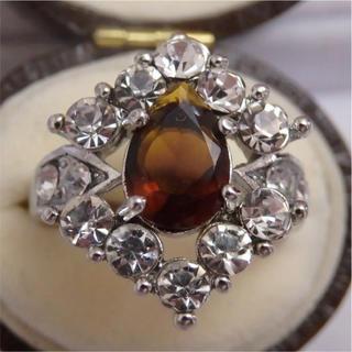 即購入OK*ブラウンのシルバーカラーリングゴージャス指輪大きいサイズ(リング(指輪))
