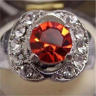 即購入OK*オレンジストーンのシルバーカラーリングゴージャス指輪大きいサイズ(リング(指輪))