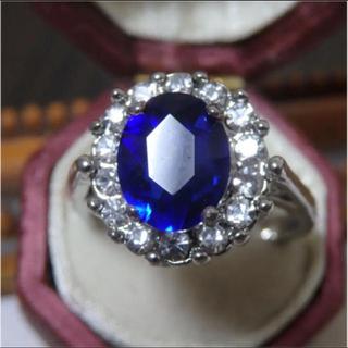 即購入OK♡ サファイアブルーのゴージャスシルバーカラーリング指輪大きいサイズ(リング(指輪))