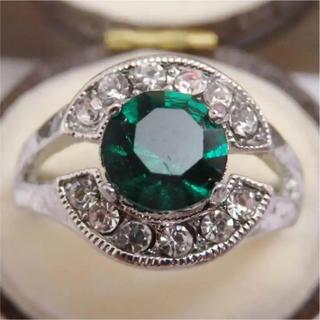即購入OK*ミル打ちエメラルドカラーのシルバーカラーリング指輪大きいサイズ(リング(指輪))