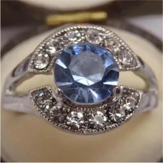 即購入OK*タンザナイトカラーのミル打ちリング指輪大きいサイズ(リング(指輪))
