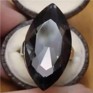 即購入OK*B品ダークグレー特大ストーンのゴージャスリング指輪大きいサイズ(リング(指輪))