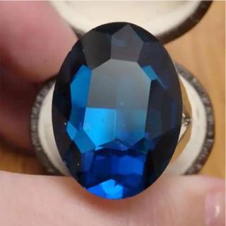 即購入OK*B品ブルー特大ストーンのゴージャスリング指輪大きいサイズ(リング(指輪))