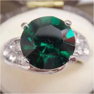 即購入OK*エメラルドカラーのシルバーカラーリング指輪大きいサイズ(リング(指輪))