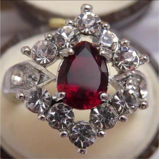 即購入OK*ガーネットのようなシルバーカラーリングゴージャス指輪大きいサイズ(リング(指輪))