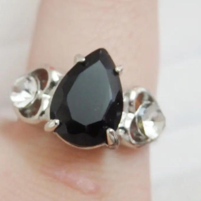 即購入OK*ブラックストーンシルバーカラーリングゴージャス指輪大きいサイズ レディースのアクセサリー(リング(指輪))の商品写真