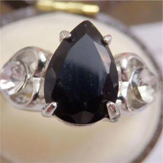 即購入OK*ブラックストーンシルバーカラーリングゴージャス指輪大きいサイズ(リング(指輪))