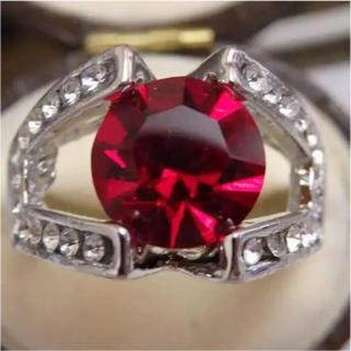 即購入OK*ルビーのようなシルバーカラーリング指輪大きいサイズ(リング(指輪))