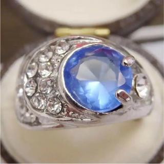 即購入OK*ライトブルーのシルバーカラーリングゴージャス指輪大きいサイズ(リング(指輪))