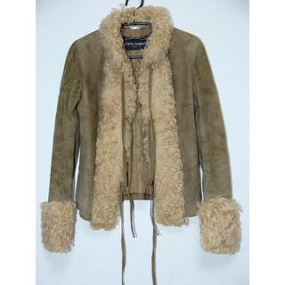 ドルチェアンドガッバーナ(DOLCE&GABBANA)のドルチェアンドガッバーナD&Gスエードムートンレザー襟袖ファーコートブルゾンJK(毛皮/ファーコート)