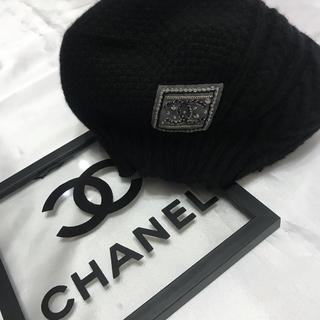 シャネル(CHANEL)のCHANEL●極美品●可愛いキラキラココ●ニットベレー帽●黒(ニット帽/ビーニー)