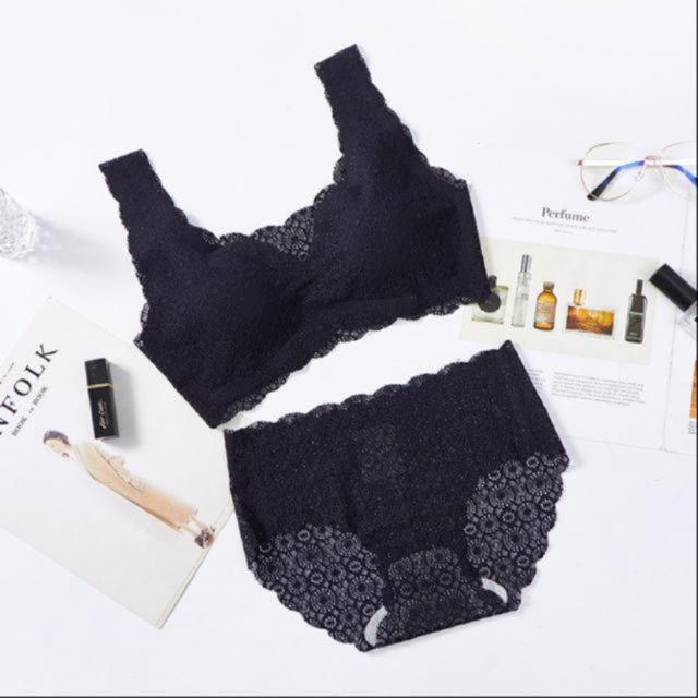 2組セット 黒 グレー ナイトブラショーツセット L シームレスブラ レディースの下着/アンダーウェア(ブラ&ショーツセット)の商品写真
