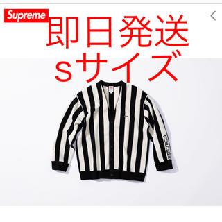 シュプリーム(Supreme)のsupreme lacoste stripe cardigan 黒 白(カーディガン)