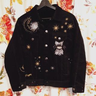 エイチアンドエム(H&M)のH&M ボアジャケット ブラック 刺繍 サイズフリー エイチアンドエム(Gジャン/デニムジャケット)