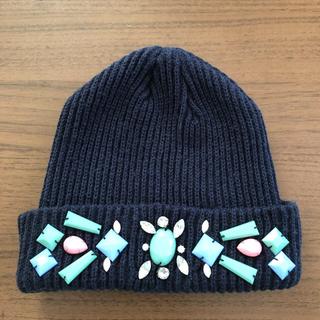 ローズバッド(ROSE BUD)のビジュー付きニット帽(ニット帽/ビーニー)