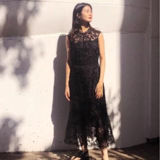 フレイアイディー(FRAY I.D)の美品 FRAY ID オーガンジー刺繍ワンピース(ロングドレス)