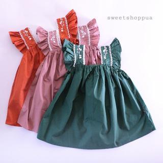 【即納】 (3color)肩フリル 刺繍 キャミ ワンピース ベビー キッズ(ワンピース)