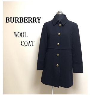 バーバリー(BURBERRY)のバーバリーロンドン ウールコート 38 レディース Aライン 紺 美品(ロングコート)