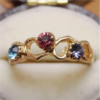 即購入OK【AR040】ハートモチーフ♡メルへンストーンゴールドカラーリング(リング(指輪))