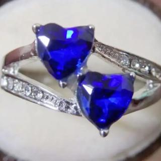 即購入OKブルーカラーハートリング指輪19号(リング(指輪))