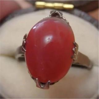 即購入OK♡V015赤のお石の千本透かし昭和レトロリング指輪(リング(指輪))