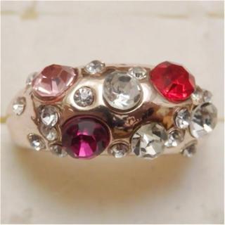 即購入OK*訳ありラインストーンのピンクゴールド指輪大きいサイズC38(リング(指輪))