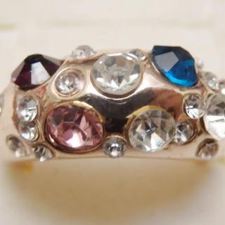 即購入OK*訳ありラインストーンのピンクゴールド指輪大きいサイズC42(リング(指輪))