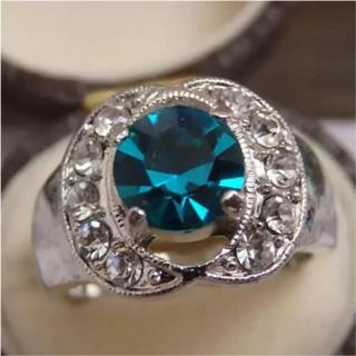 即購入OK*スカイグリーンのシルバーカラーリングゴージャス指輪大きいサイズ(リング(指輪))