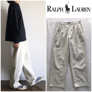 ラルフローレン(Ralph Lauren)の90sビンテージ ラルフローレン タックワイドテーパードチノパンツ W34(チノパン)