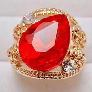 即購入OK*訳ありオレンジストーンのドロップ型ピンクゴールド指輪大きいサイズ(リング(指輪))