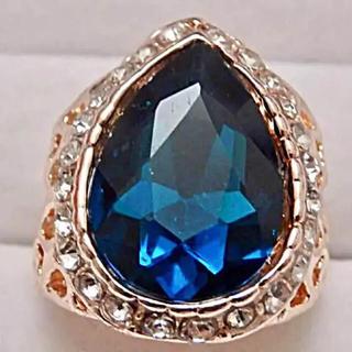 即購入OK*訳ありドロップ型ブルーストーンピンクゴールド指輪大きいサイズ(リング(指輪))
