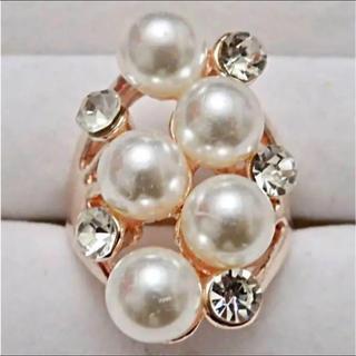 即購入OK*訳ありパールゴージャスなピンクゴールド指輪大きいサイズ(リング(指輪))