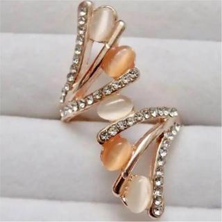 即購入OK*訳ありピンクストーンのゴージャスピンクゴールドリング指輪大きいサイズ(リング(指輪))