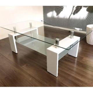 ガラス センターテーブル ホワイト(ローテーブル)