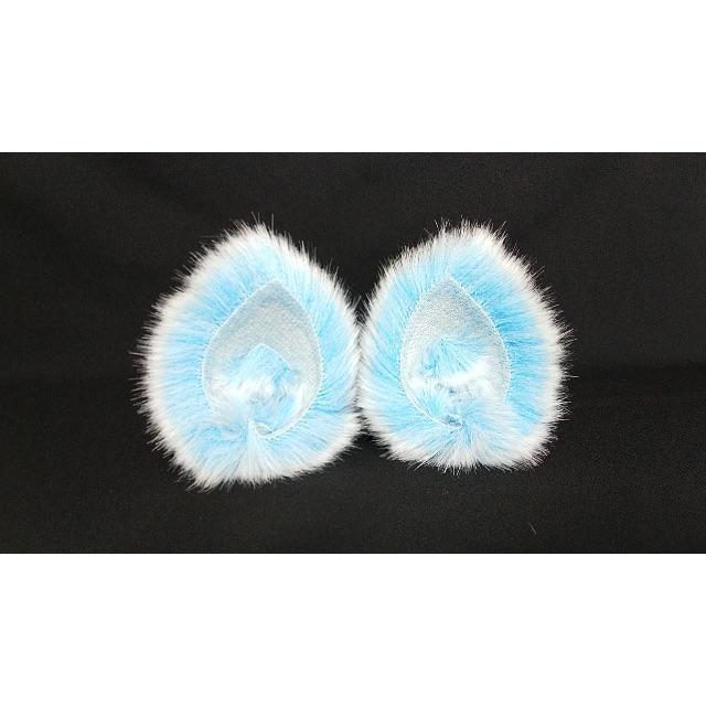 【 ブルーネコミミ 】ヘアピンねこみみ◆青いねこ耳◆髪に着けられる猫耳 ハンドメイドのアクセサリー(ヘアアクセサリー)の商品写真