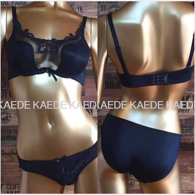 胸元セクシーレース ブラック レディースの下着/アンダーウェア(ブラ&ショーツセット)の商品写真