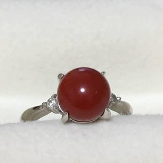 【美品】PT900 天然 血赤珊瑚 ダイヤモンド リング(リング(指輪))