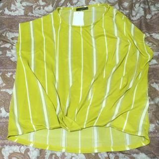 シマムラ(しまむら)の新品しまむらストライプ柄裾タックプルオーバーMイエロー(カットソー(半袖/袖なし))