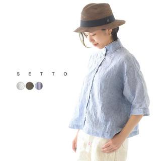 アパルトモンドゥーズィエムクラス(L'Appartement DEUXIEME CLASSE)のリネン スタンドカラーシャツ SETTO LINEN OKKAKE SHIRT (シャツ/ブラウス(半袖/袖なし))