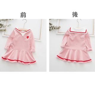 子供服 女の子 長袖 ワンピース ピンク 130(ワンピース)